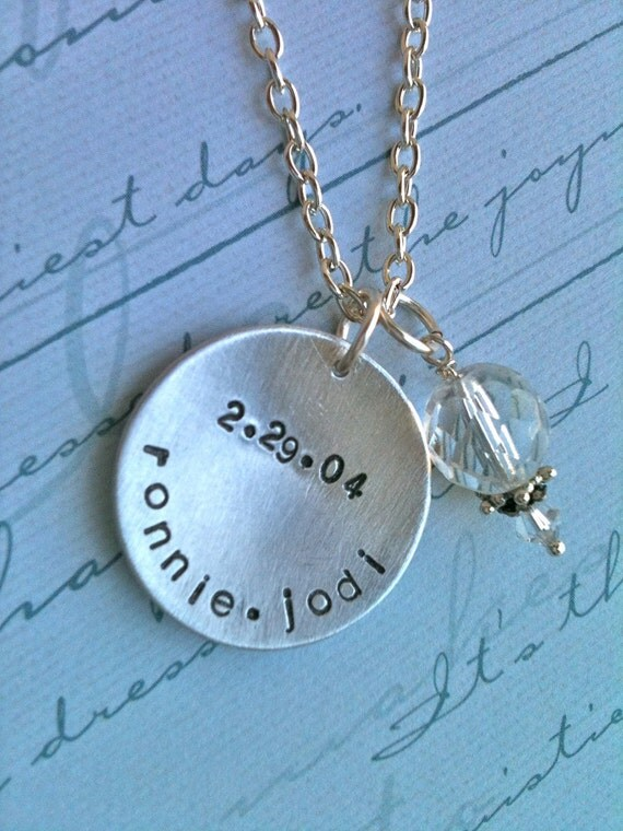 Wedding bliss...Personalized Hand Stamped Necklace