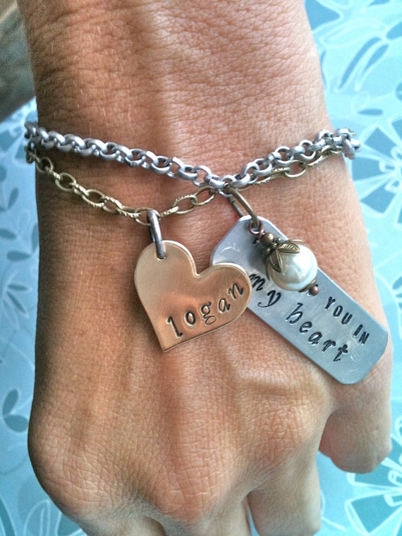 I  Carry You In My Heart....Brass Heart Hand Stamped Bracelet