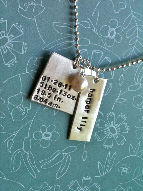 OH BABY...Hand Stamped New Baby Stats Necklace