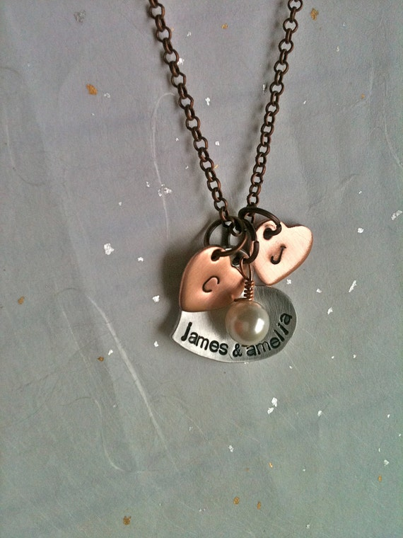 Me Plus You Equals Them...Personalized Hand Stamped Necklace