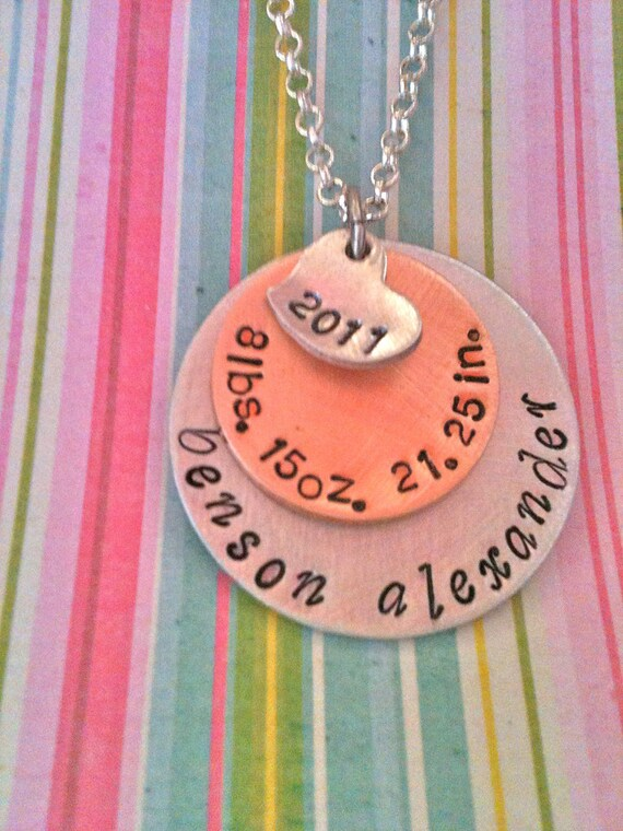 NEW MOM. NEW Baby..Hand Stamped Baby Stats Necklace