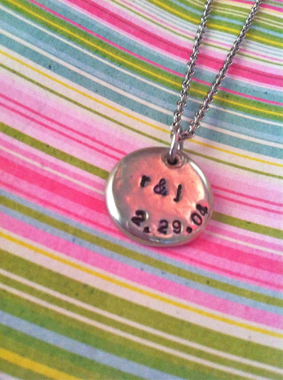 Custom Listing For Melissa...NEW-This I Promise You...Initial & Wedding Date Necklace