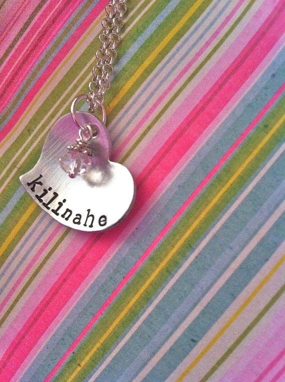 Custom Listing For Carrie--NEW-My Kilinahe...Hand Stamped Heart Necklace