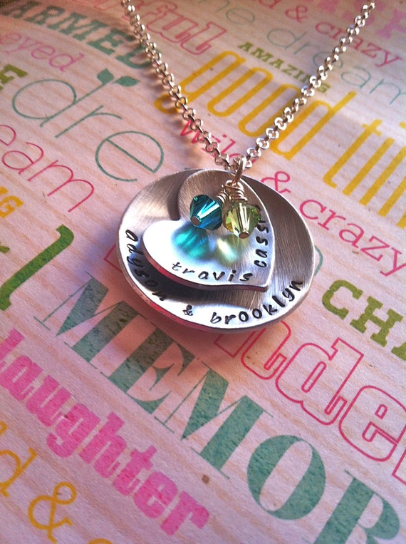 Custom Listing For Tiffany...NEW-Birthstones...Hand Stamped Family Necklace