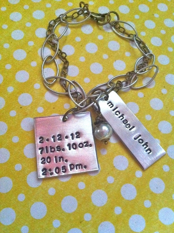 NEW-Baby Stats Mixed Metal Charm Bracelet..Hand Stamped