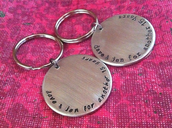 NEW-HIS & HER Keychains...Hand Stamped
