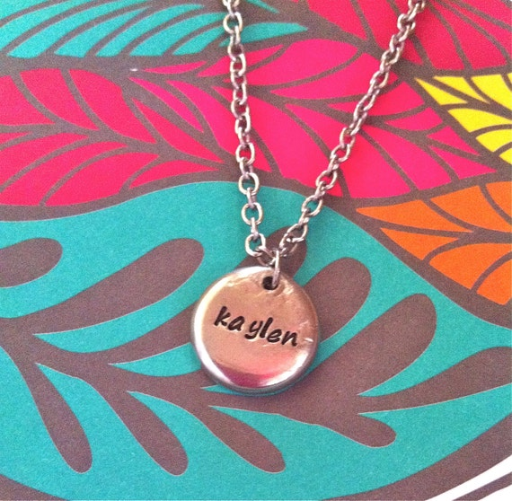 Custom Listing For Lindsay...NEW-Single Name Pewter Pebble...Hand Stamped Necklace