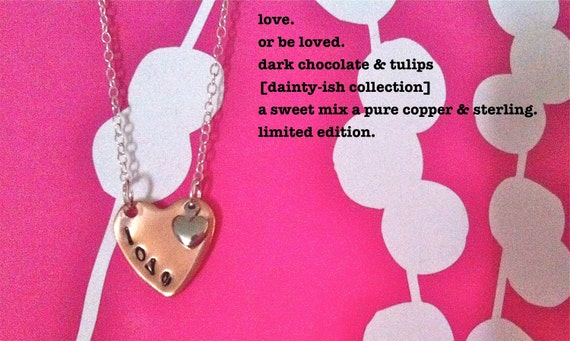 NEW-love....dark chocolate & tulips dainty-ish collection hand stamped