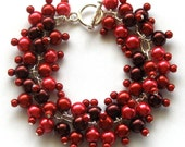Shades of Red Glass Pearl Cluster Bracelet