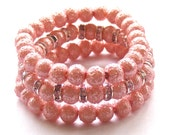 Textured Pink Pearl Bracelets, Trio of Pearl and Sparkle Bracelets, Bridal Jewelry