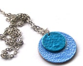 SALE, Blue British Coin Pendant, Sixpence and Penny Necklace, HALF PRICE