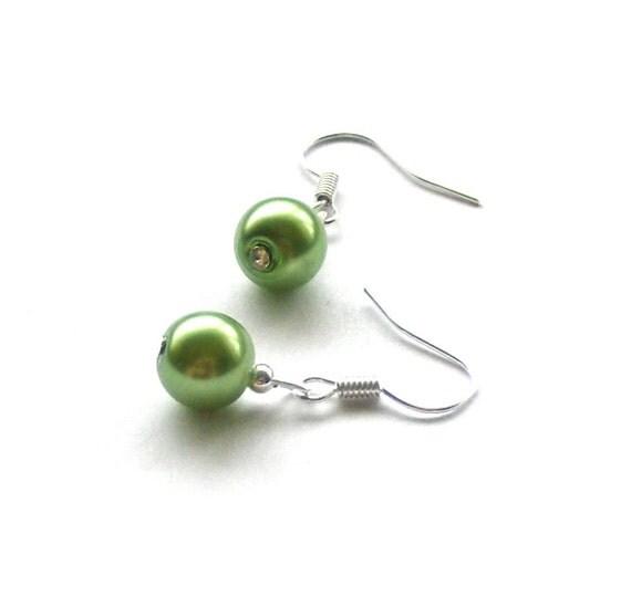 Apple Green Glass Pearl Earrings