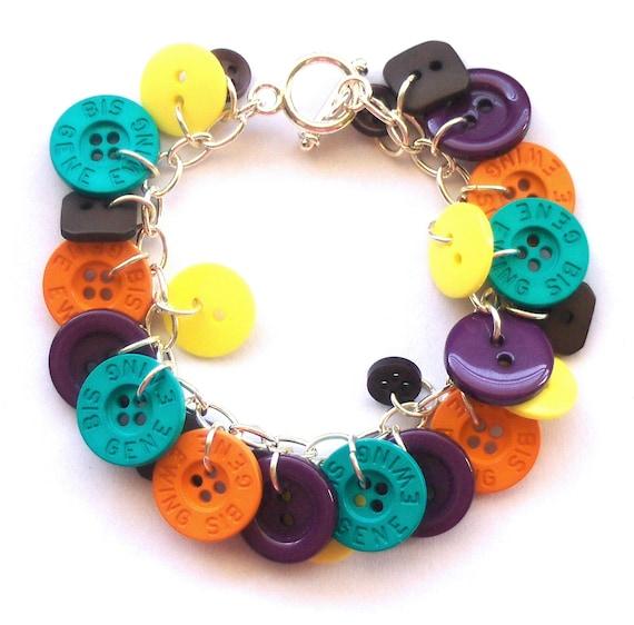 Button Bracelet: Orange, Turquoise, Yellow, Purple, Quirky Colorful Button Bracelet