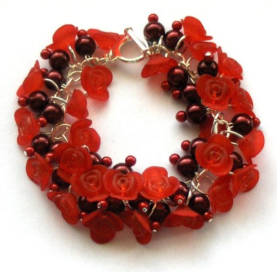 SALE, Red Rose Bracelet, Pearl, Beaded Cluster Bracelet
