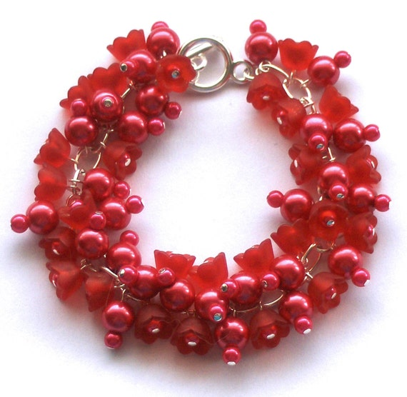 Pearl Cluster Bracelet, Crimson Red, Glass Pearl, Bridesmaid Beaded Bracelet