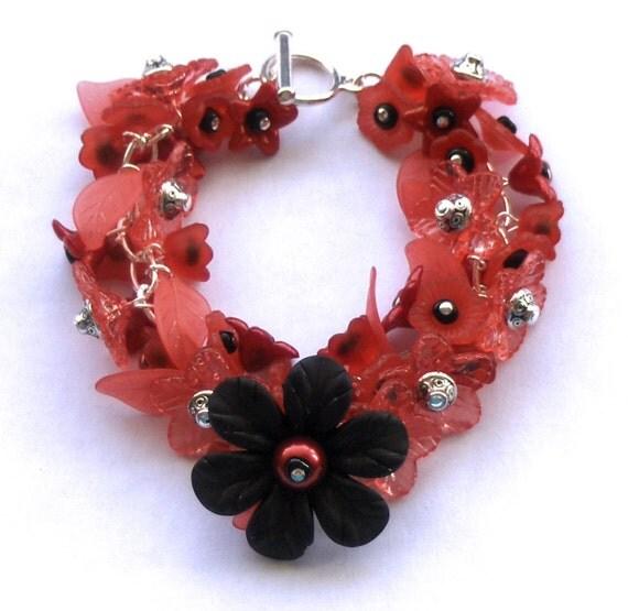 SALE, Red Cluster Bracelet, Lucite Flower Bracelet, HALF PRICE