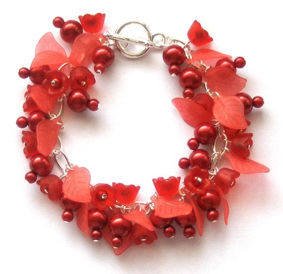 SALE, Red Tulip Pearl Cluster Bracelet, HALF PRICE