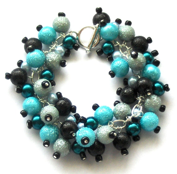 Pearl Cluster Bracelet, Black, Teal and Pale Blue