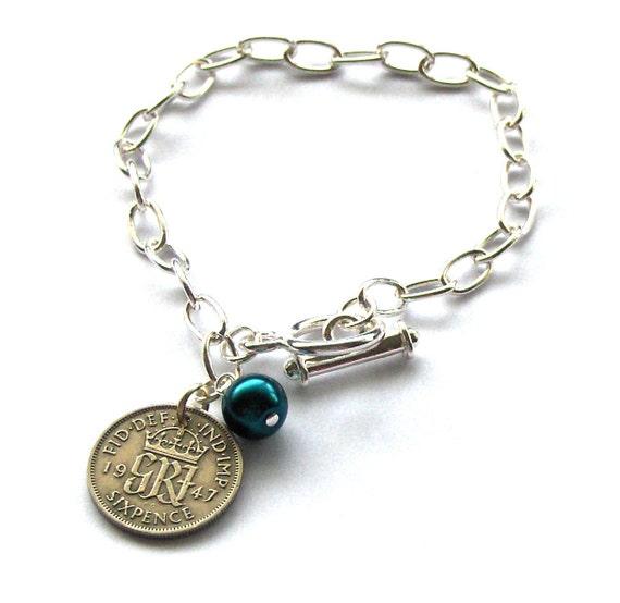 Sixpence Bracelet: 1947, Six pence, Bridal Jewelry, Lucky Charm Bracelet