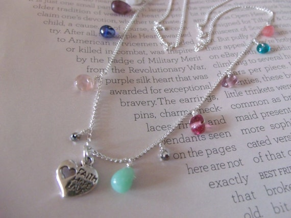 Faith Hope Love Sterling Silver Long Necklace