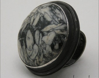 Pinolith and Oxidized Sterling Cocktail Ring