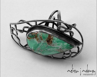 Australian Variscite and Sterling Silver Caged Cocktail Ring