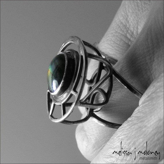 Spectrolite and Sterling Silver Caged Cocktail Ring