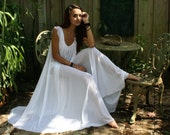 Bridal Nightgown Wedding Lingerie Full Swing White Nylon Waiting in the Shadows of Moonlight Honeymoon Romance  Nightgown
