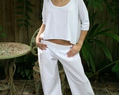 Low Rise Wide Leg Cotton Pajama Pant With Cropped Three Quarter Length Sleeve Silk Viscose Knit Pajama Top