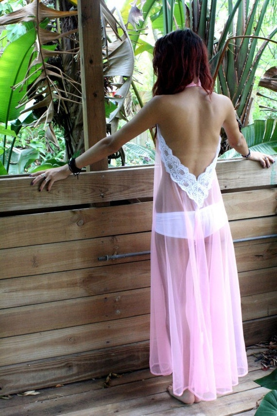 Backless Nightgown Halter Bubblegum Pink Sheer Nylon Full Swing Honeymoon Bridal Wedding Lingerie