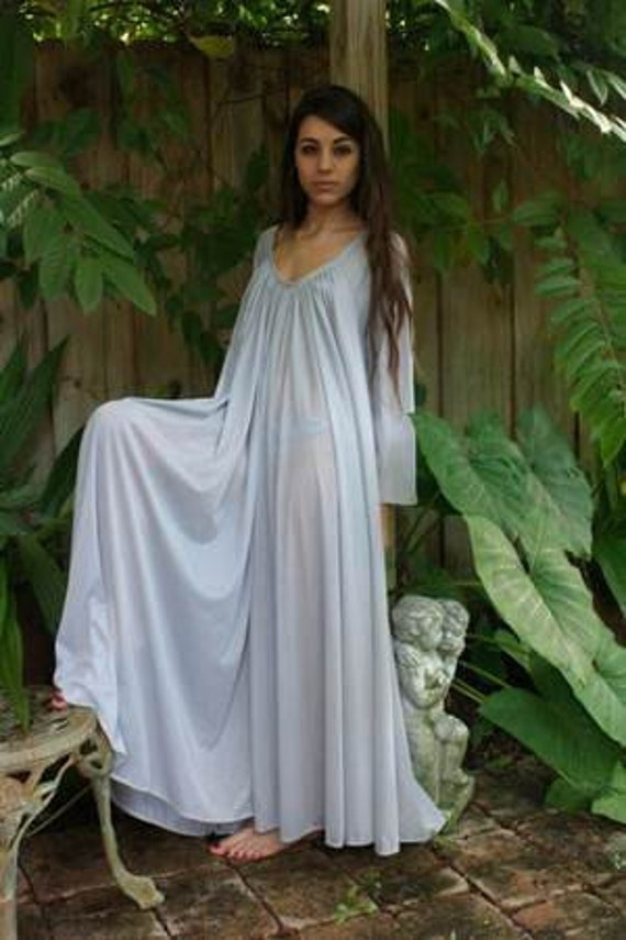 Peasant Sleeve Nightgown Long Sleeve Full Swing Gray Nylon Jane Austen Sleepwear Lingerie Honeymoon