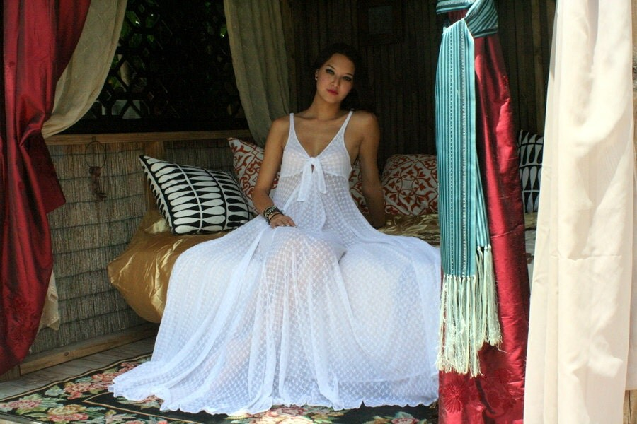 Wedding lingerie white lace nightgown tie front romantic for Night dresses for wedding night