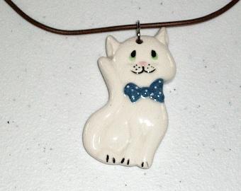 Ceramic Mya Kitty Pendant Necklace