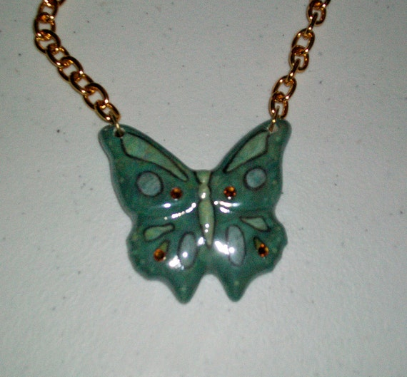 Ceramic Blue Spruce Butterfly Necklace with Crystals
