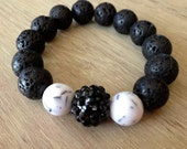 Lava Rock beads with marble beads and center pava