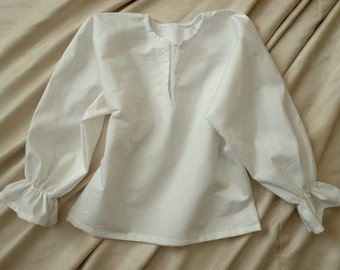 Peasant / Pirate costume shirt  long sleeved  white cotton for boys toddler size 12-18 month