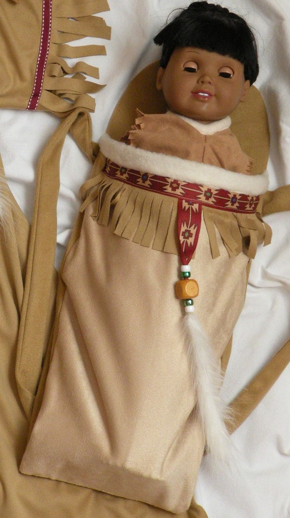 Native American Girl Indian Papoose Carrier And Doll Dress