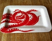 original design, jessica Howard, red and white octopus ceramic serving tray, platter, dish, plate