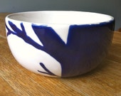 small navy, indigo blue and white twiggy tree cereal, rice, serving bowl