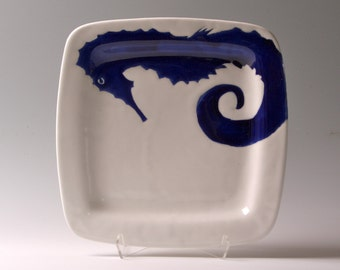 Navy blue, indigo and white seahorse, medium square plate, tray, dinner plate, serving platter