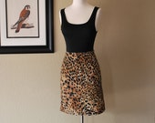 Vintage BODYCON Leopard Mini Skirt Bandage Faux Suede Sax Fifth Avenue