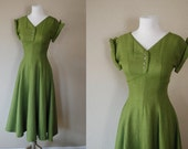Vintage Dress 40s 50s Peridot Green Woven Full Skirt Gown XS S