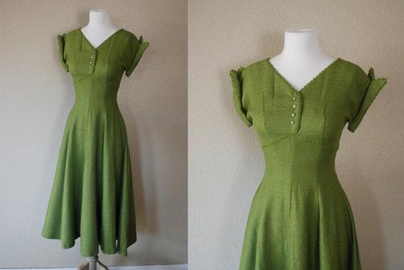 Vintage Dress 40s 50s Peridot Green Woven Full Skirt Gown XS S