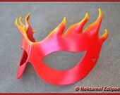 Firestar Red Yellow Leather Mask Super Hero Flames Batman Female Villain Marvel Comic Book Halloween Costume Masquerade Fetish Ball