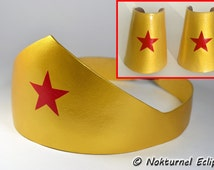 Wonder Woman Gold Tiara Headpiece & Cuffs Adult Set - Justice League Halloween Dawn of Justice Geek Cosplay Superhero Costume Accessory