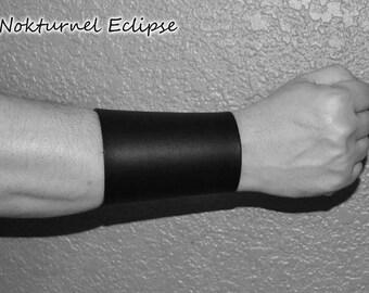 Pair Plain Black Leather Cuffs / Wristbands Lace Up Design - Black Metal Renaissance Superhero Fetish Cosplay Halloween Costume UNISEX