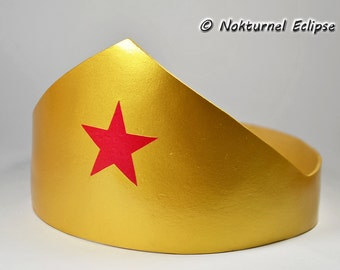 Wonder Woman Gold Adult Tiara Headpiece with Red Star Justice League Halloween Dc Comics Marvel Dawn of Justice Superhero Costume Accessory