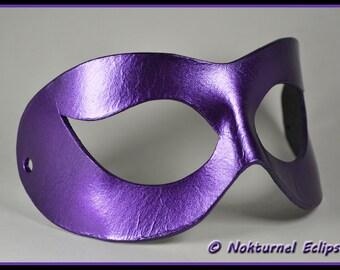 Black & Purple Harley Quinn Leather Mask Arkham Asylum Batgirl Catwoman Comic Con Superhero Halloween Costume - Available Any Basic Color