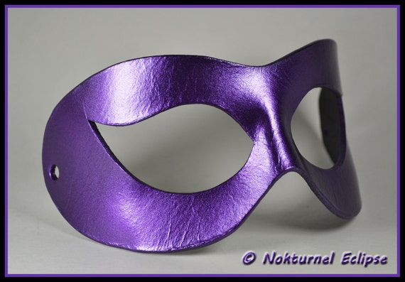 Black & Purple Harley Quinn Leather Mask Arkham Asylum Batgirl Catwoman Comic Con Superhero Halloween Costume - Available Any Basic Color