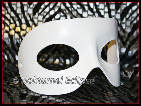 UNISEX White Masquerade Leather Mask Fetish Party Halloween Super Hero Comic Con Costume - Available in ANY Color